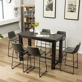 Roundhill Furniture Lotusville 7-Piece Set with Faux Leather Bar Stools, Vintage Gray
