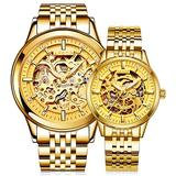 Switzerland Couple Automatic Mechanical Watch Skeleton Gold Dial Watch for Men's and Women's Gift Set 2 (Gold)