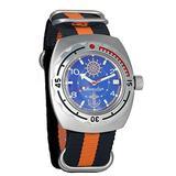 Vostok Amphibian Automatic Mens Wristwatch Self-Winding Military Diver Amphibia Case Wrist Watch #090374 Marine (Black+Orange)