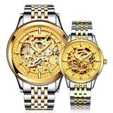 Switzerland Couple Automatic Mechanical Watch Skeleton Gold Dial Watch for Men's and Women's Gift Set 2 (Silver Gold)