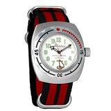 Vostok Amphibian Automatic Mens Wristwatch Self-Winding Military Diver Amphibia Case Wrist Watch #090381 Marine (Black+red)