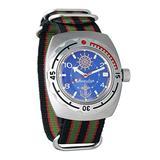 Vostok Amphibian Automatic Mens Wristwatch Self-Winding Military Diver Amphibia Case Wrist Watch #090374 Marine (Multicolor)