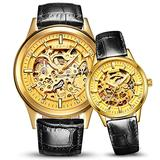 Switzerland Couple Automatic Mechanical Watch Skeleton Gold Dial Watch for Men's and Women's Gift Set 2 (Black)