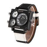 OULM Men's Military Sport Multi Time Zone Canvas Band Square Dial Quartz Watch White-Black