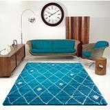 Brayden Studio® Fallsburg Geometric Turquoise/Ivory Area Rug Polypropylene in Brown/White, Size 114.17 H x 78.7 W x 1.57 D in | Wayfair