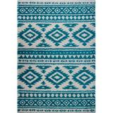 Union Rustic Lindgren Abstract Turquoise/Ivory Area Rug Polypropylene in Brown/White, Size 113.0 H x 77.0 W x 1.57 D in | Wayfair