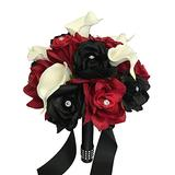 Build Your Wedding Package-Artificial Flower Bouquet Corsage Boutonniere Rose Calla Lily Red White Black Wedding Theme (Bridesmaid (A)-Rose with Calla Lily)