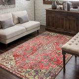 Dakota Fields Alanis Oriental Red/Taupe/Ivory Area Rug Polyester in Brown/Red/White, Size 96.0 W x 0.32 D in | Wayfair