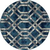 Art Carpet Bastille Collection Fretwork Border Woven Round Area Rug, 5', Blue/Gray