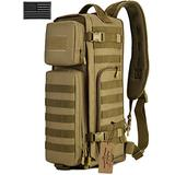 ArcEnCiel Tactical Sling Pack Military Molle Chest Crossbody Shoulder Bags Motorcycle Bicycle Assault Range Diaper Day Backpack With Patch (Coyote Brown)
