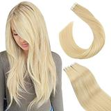 Ugeat Tape in Hair Extensions Human Hair 16inch Seamless Skin Weft Tape in Remy Hair Extensions Color #613 Bleach Blonde Hair Extensions Remy Human Hair Extensions 20pcs/50g Glue on Extensions