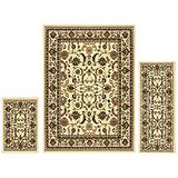 Superior Barringer Collection 3-Piece Rug Set, Attractive Rugs with Jute Backing, Durable and Beautiful Woven Structure, Traditional Bordered Area Rug Set - 2' x 3', 2' x 5', and 5' x 7' Rugs, Ivory