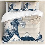 Lunarable Wave Duvet Cover Set, Oriental Culture Hand Drawn Style Japanese Motifs Illustration Wave, Decorative 3 Piece Bedding Set with 2 Pillow Shams, King Size, Blue Cream