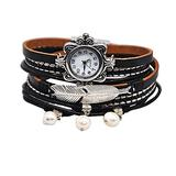 """MINILUJIA Vintage Casual Bohemian Style Women Leather Watch Small Watch Face Double Wrap Around Watch with Feather Magnetic Clasp Black Strap (11.8"""")"""