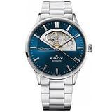 Edox Men's Les Vauberts Open Heart 43mm Steel Bracelet & Case Automatic Blue Dial Watch 85014 3M BUIN
