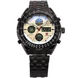HELMASK Watch - Stainless Steel 304 Black Round Man Mens Men boy Analog Date Day 24hour 2 time Zone Dual time Zone Wrist Watch