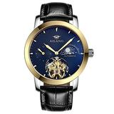WhatsWatch AILANG Waterproof Skeleton Automatic Gold Watch Mens with Black Leather Band Analog Blue Dial Moon Phase -312