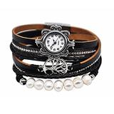 """MINILUJIA 2X Wrap Watch Vintage Casual Bohemian Style Women Leather Watch Small Watch Face Double Wrap Around Watch with Tree Pearl Magnetic Clasp Black Strap (11.8"""")"""