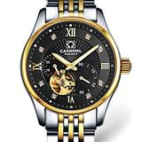 WhatsWatch Carnival Watches for Men Business Waterproof Steel Watchband Automatic Self-Wind Mechanical Watch Wristwatch - Gold Bezel Black dial Silver Watch case