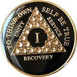 1 Year AA Medallion Black Tri-Plate Light Colorado Topaz Color Swarovski Crystal Chip