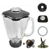 Blender Glass Jar Set With Coupling Kit pin Replacement 1.6 Liter - 6.8 Cup Square 7 Piece Oster Blender Part 7 Piece Complete Glass Blender Jar Replacement Kit, Compatible with Oster Blenders