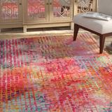 17 Stories Woonsocket Cotton Candy Area Rug Polypropylene in Brown/Pink/Yellow, Size 120.0 H x 31.0 W x 0.5 D in | Wayfair