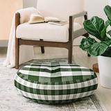 East Urban Home Monika Strigel Farmhouse Shabby Gingham Checkered Plaid Round Floor Pillow Polyester/Polyfill/Polyester/Polyester blend in Green