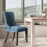 Wrought Studio™ Fincastle Upholstered Dining Chair in BlueWood/Polyester/Polyester blend/Upholstered/Fabric in Blue/Brown | Wayfair