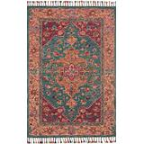 """Loloi Rugs, Zharah Collection - Teal / Berry Area Rug, 1'6"""" x 1'6"""""""