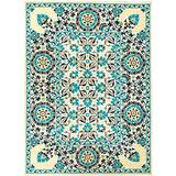 """Solo Rugs Suzani Carnivale One of a Kind Hand Knotted Area Rug, Beige with Bright Blue, 10' 1"""" x 13' 8"""""""