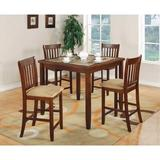 Red Barrel Studio® Chiesa 5 Piece Counter Height Solid Wood Dining Set w/ Marble Top Wood/Upholstered Chairs in Brown/Red | Wayfair