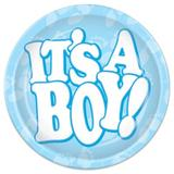 """The Beistle Company It's A Boy Dessert Plate for 8 Guests Paper in Blue/White, Size 9"""" H x 9"""" W x 0.01"""" D 
