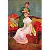 A Standing woman places a flower in a girls hair there is a sofa behind and the girl is seated on a red plush upholstered chair Poster Print by Pierre-August Renoir (18 x 24)