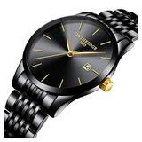 Mens Fashion Ultra Slim Simple Big Dial Stainless Steel Band Analog Display Waterproof Quartz Watches (Black Band-Black dial)