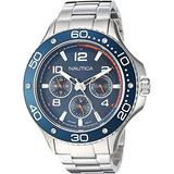 Nautica Men's PIER 25 Collection Stainless Steel Japanese-Quartz Watch with Stainless-Steel Strap, Silver, 20 (Model: NAPP25006)