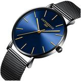 Mens Luxury Simple Ultra Thin Big Dials Black Mesh Band Analog Display Waterproof Quartz Watches (Black Mesh Band-Blue dial)
