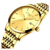Mens Fashion Ultra Slim Big Simple Dial Gold Band Analog Display Waterproof Quartz Watches (Gold Band-Gold dial)