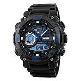 Men's Analog Digital Watch Large Dual Dial Watch Outdoor Dual Time Zone Backlit Waterproof Watch(Blue)