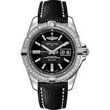 Breitling Galactic 41 Diamond Bezel Steel Watch on Black Calfskin Leather Strap A49350LA/BA07-218X