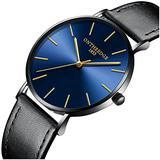 Mens Luxury Simple Ultra Thin Big Blue Dials Leather Band Analog Display Waterproof Quartz Watches (Black Leather Band-Blue dial)
