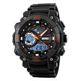 Men's Analog Digital Watch Large Dual Dial Watch Outdoor Dual Time Zone Backlit Waterproof Watch(Orange)