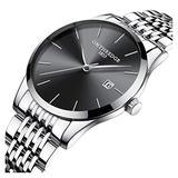 Mens Fashion Ultra Slim Simple Black Big Dial Silver Band Analog Display Waterproof Quartz Watches (Silver Band-Black dial)