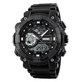 Men's Analog Digital Watch Large Dual Dial Watch Outdoor Dual Time Zone Backlit Waterproof Watch (Black)