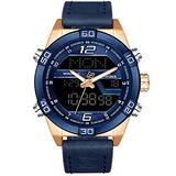 Tayhot Mens Digital Analog Watches,Men Dual Time Display Blue Leather Chronograph Wristwatch Quartz Digital Waterproof Sport Business Casual Dress Watch with Gold-Tone Case