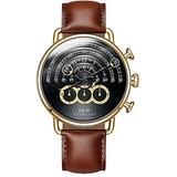 Mens Unique Runway Scale Moon and Sun Watch Hand Sapphire Crystal Calfskin Band Waterproof Quartz Watches (Brown Band-Gold case)