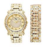 Hip Hop Iced Look Gold Bling Bling Luxurious Men's Rapper Watch. Easy Reader Dial has Elegant Roman Numerals. Elegant Mens Gift Set Includes Matching Ice'd Look Bracelet - L0501B Gold Set