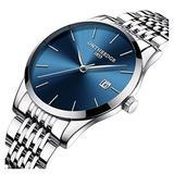 Mens Fashion Ultra Slim Big Simple Dial Silver Band Analog Display Waterproof Quartz Watches (Silver Band-Blue dial)