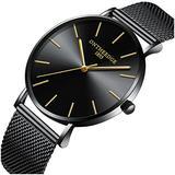 Mens Luxury Simple Ultra Thin Big Dials Mesh Band Analog Display Waterproof Quartz Watches (Black Mesh Band-Black dial)