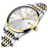 Mens Fashion Ultra Slim Simple Big Dial Silver Gold Band Analog Display Waterproof Quartz Watches (Silver Gold Band-White dial)