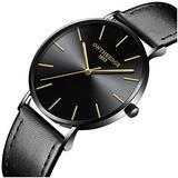 Mens Luxury Simple Ultra Thin Big Dials Black Leather Band Analog Display Waterproof Quartz Watches (Black Leather Band-Black dial)